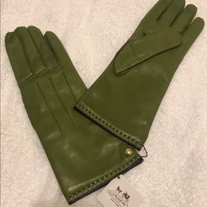 Coach Leather & Cashmere Gloves w Gold Buttons (7)